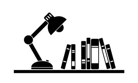 Monochrome lamp and books on shelf 向量圖像
