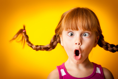 Silly Little Girl with Pigtails, Gasping in Surprise