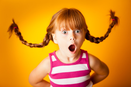Whimsy Little Girl with Pigtails, Gasping in Surprise