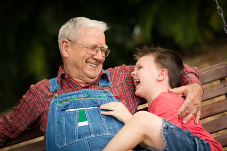 Little Boy Laughing with Great Grandfather