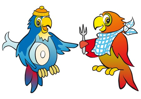 the two parrots: two parrots comic Illustration