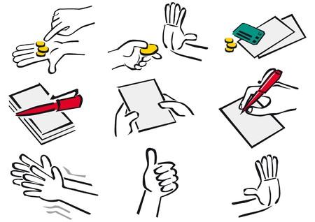 handen actie Vector Illustratie