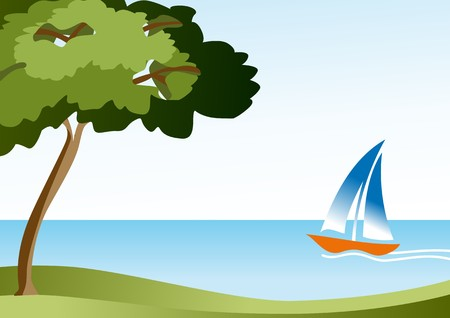 sailing yacht: landscape with sea and sailing Illustration
