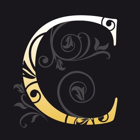 letter c, typography Vector