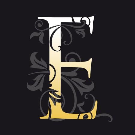 initial: lettera e, tipografia