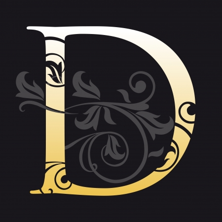 gold letters: letter d, typography