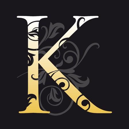 letter k, typography Vector