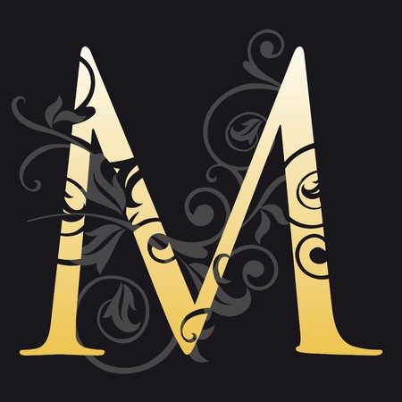 gold letters: letter m, typography