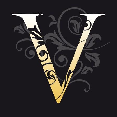 initial: lettera v, tipografia
