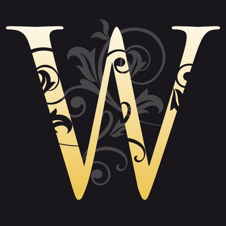 letter w, typography Vector
