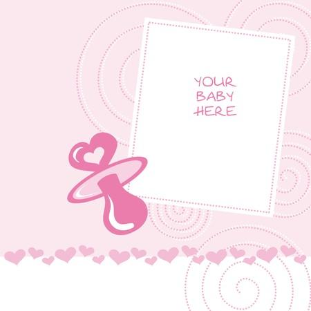 newborn announcement card pink Vector