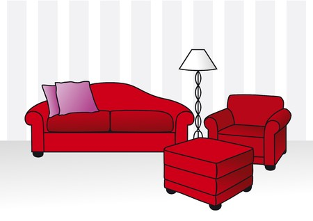 ombre: red sofa Illustration