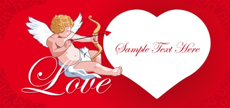 Cards with hearts and cupid love Vector
