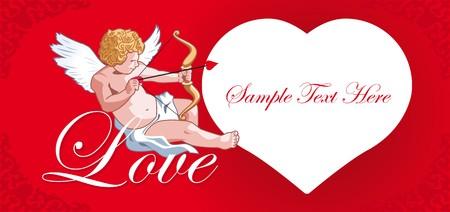 Cards with hearts and cupid love Ilustração