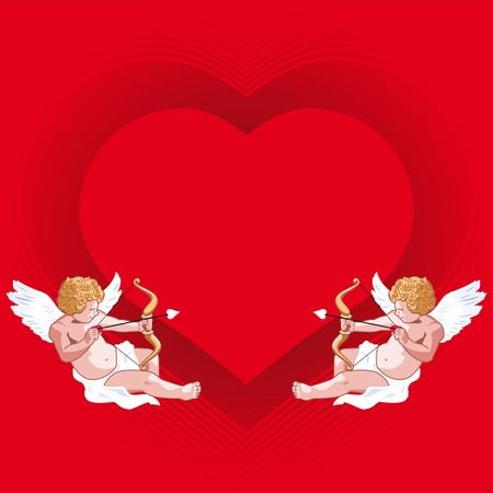 Cards with hearts and cupid love Stock Vector - 7734521