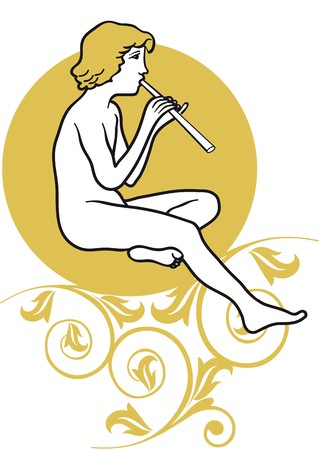 music therapy: young man playing the flute Illustration