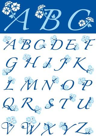 floral alphabet: floral alphabet Illustration
