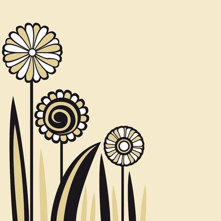 birthday flowers: briefkaart bloemen Stock Illustratie