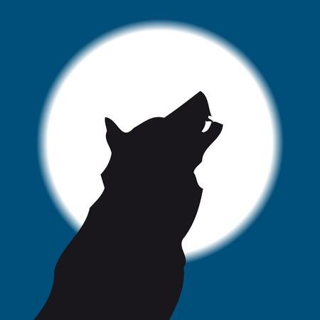 aullando Lobo la luna llena