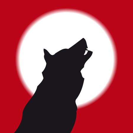 dog bite: Lobo aullando � la luna llena  Vettoriali