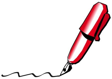 Red pen Stock Vector - 7739537