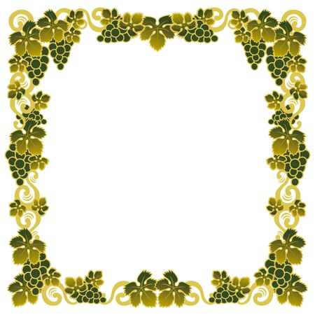 sommelier: border with a bunch of green grapes Illustration