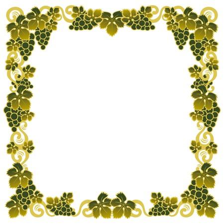 frontière avec une grappe de raisin vert Vecteurs