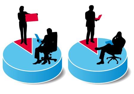competitividad: gr�fico de las estad�sticas azul y rojo  Vectores