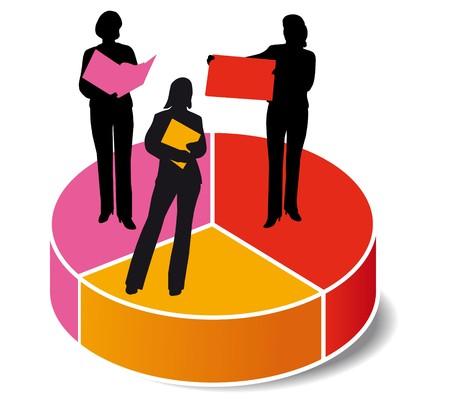 competitividad: gr�fico de las estad�sticas mujer  Vectores
