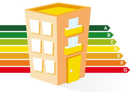 home heating: sustainable building Illustration