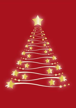 Gold Christmas tree Stock Photo
