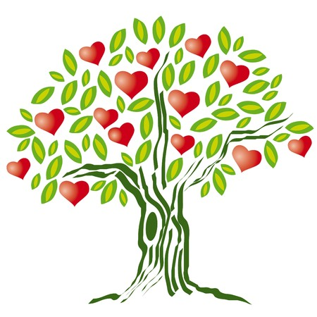 passion flowers: tree with heart Illustration