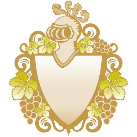 heraldic shield with vines Illustration