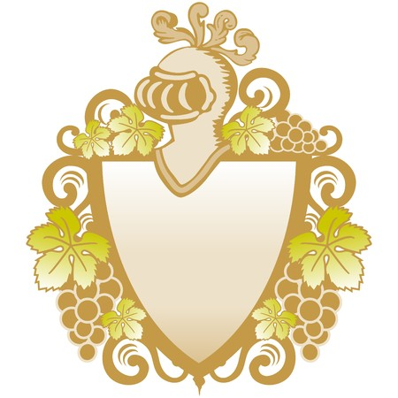 aristocracy: heraldic shield with vines Illustration