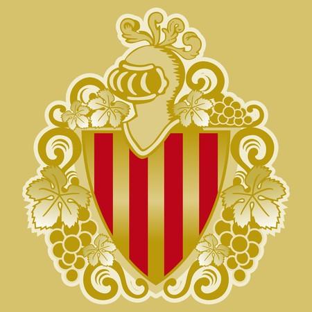 heraldic shield with vines of Catalonia Vector