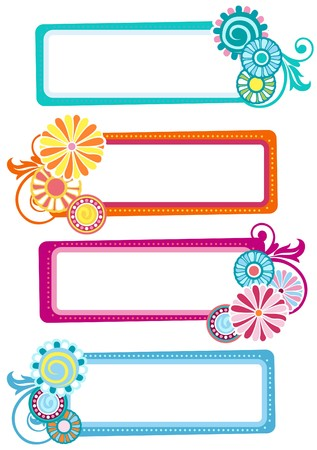 labels with flowers Illustration