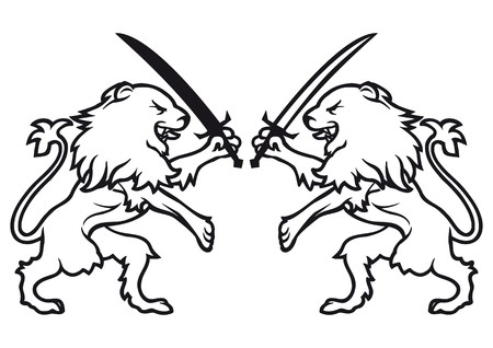 highness: lions fighting with swords