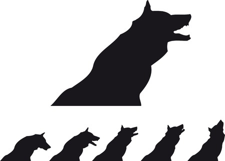 barking: wolf silhouette