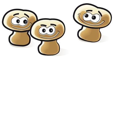 mycology: three mushrooms Illustration