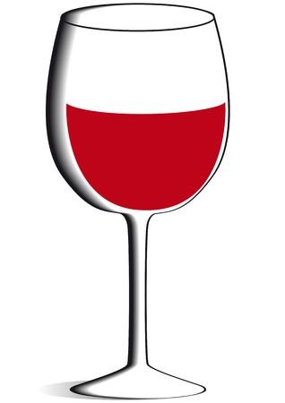 grape crop: glass of red wine Illustration