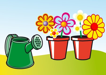 watering pot: pots and watering can Illustration