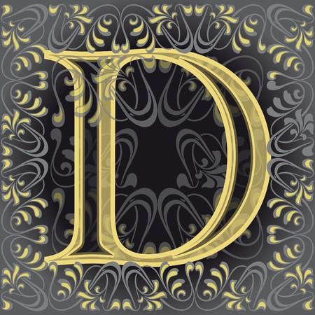 decorated letter d, de Vector