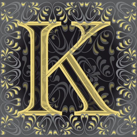 decorated letter k, key Vector