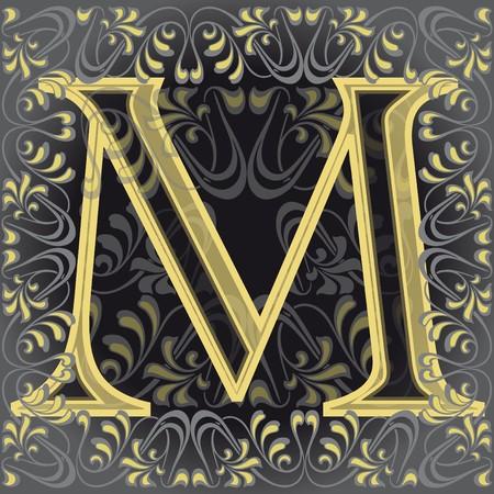 decorated letter m, em Illustration