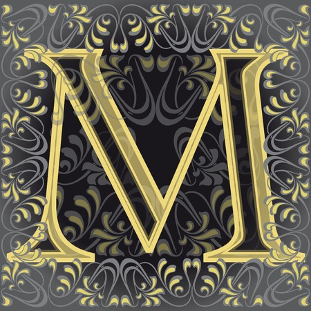 vowel: decorated letter m, em Illustration