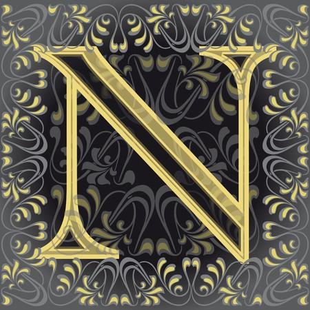 en: decorated letter n, en