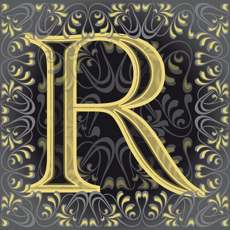 decorated letter r, ar Vector