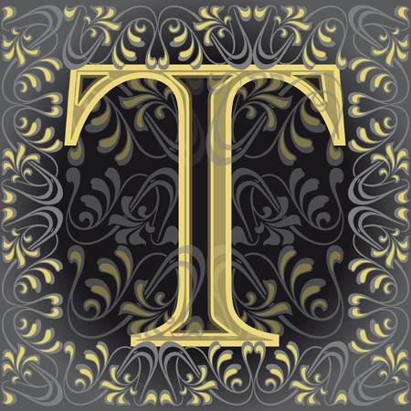 decorated letter t, ti