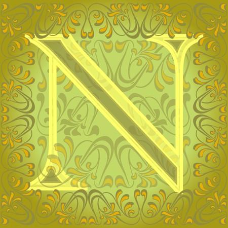 gold en: decorated letter e, en