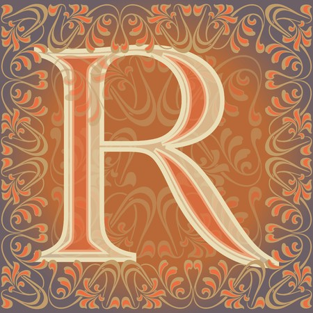 decorated letter r, ar
